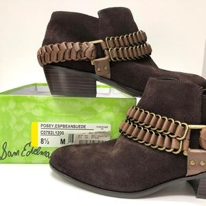 Sam Edelman Brown Suede Posey Booties 8-1/2 NWT